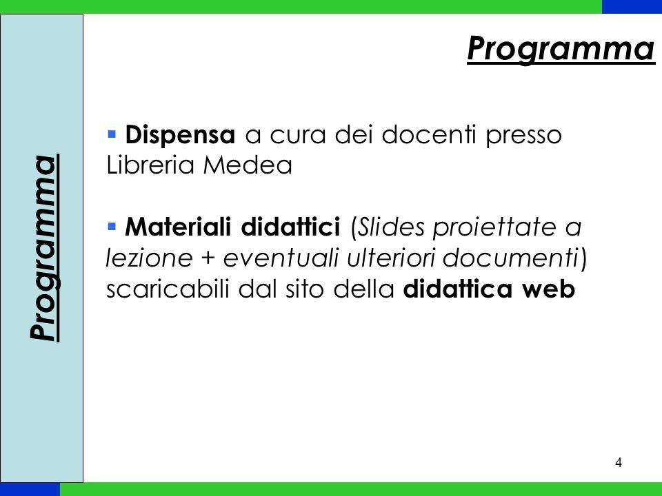 Programma Programma Dispensa a cura dei docenti presso Libreria Medea