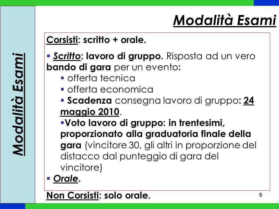 Modalità Esami Modalità Esami Corsisti: scritto + orale.