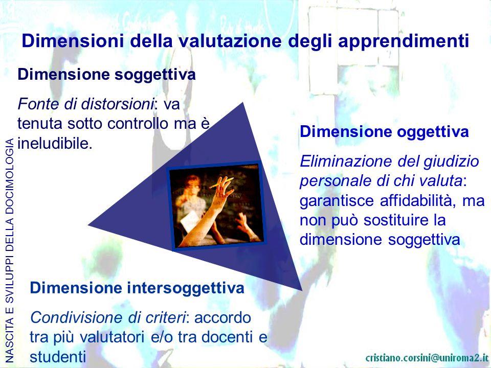 Dimensioni della valutazione degli apprendimenti
