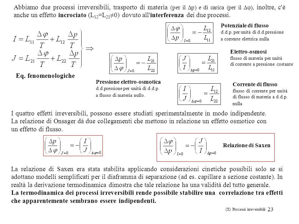 (X) Processi irreversibili