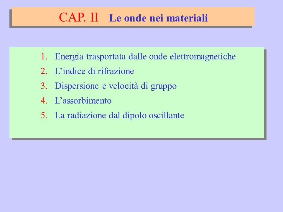 CAP. II Le onde nei materiali