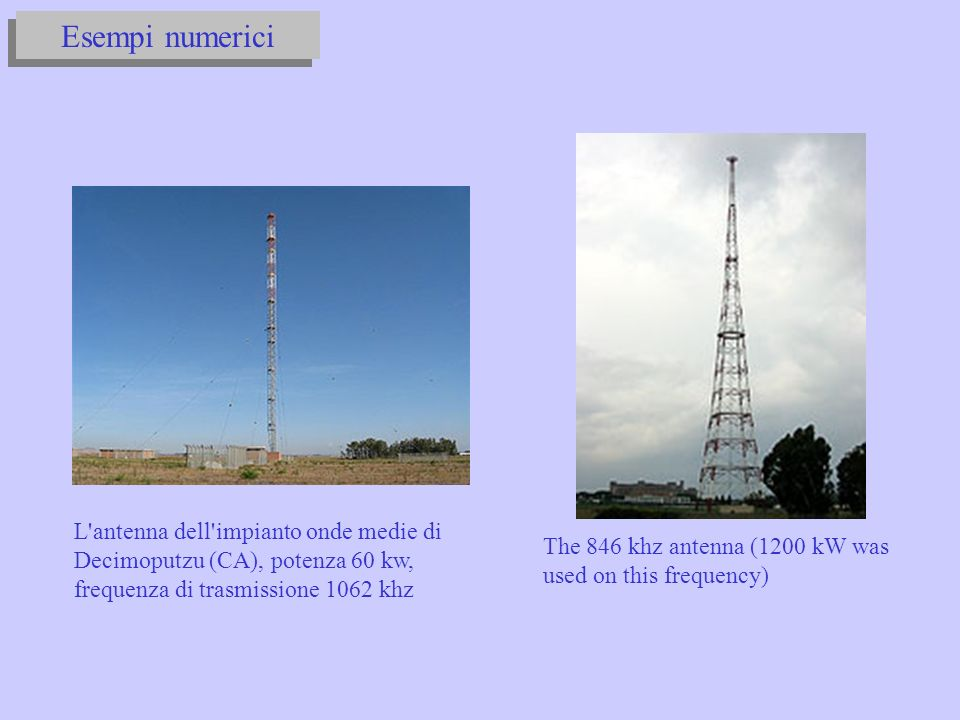 Esempi numerici L antenna dell impianto onde medie di Decimoputzu (CA), potenza 60 kw, frequenza di trasmissione 1062 khz.