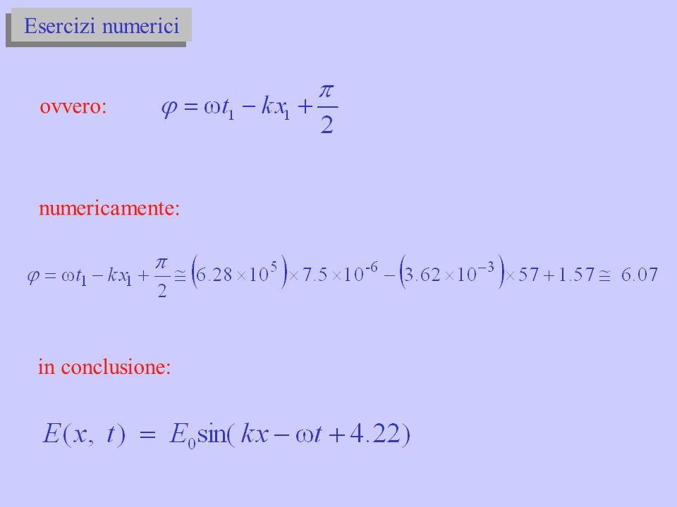 Esercizi numerici ovvero: numericamente: in conclusione: