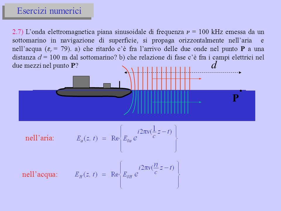 d P Esercizi numerici nell'aria: nell'acqua: