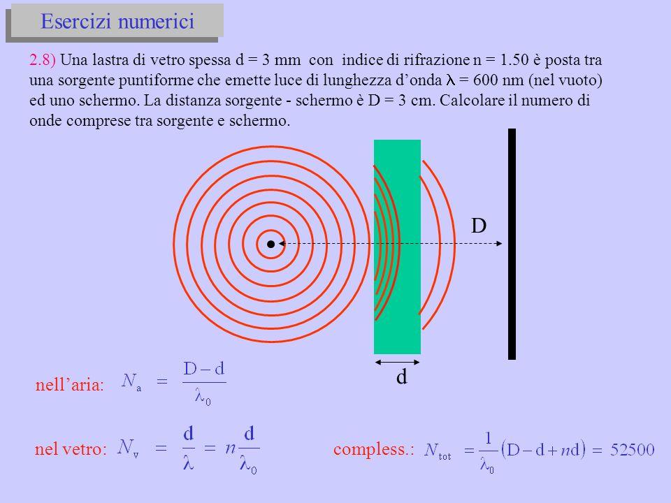 Esercizi numerici D d nell'aria: nel vetro: compless.: