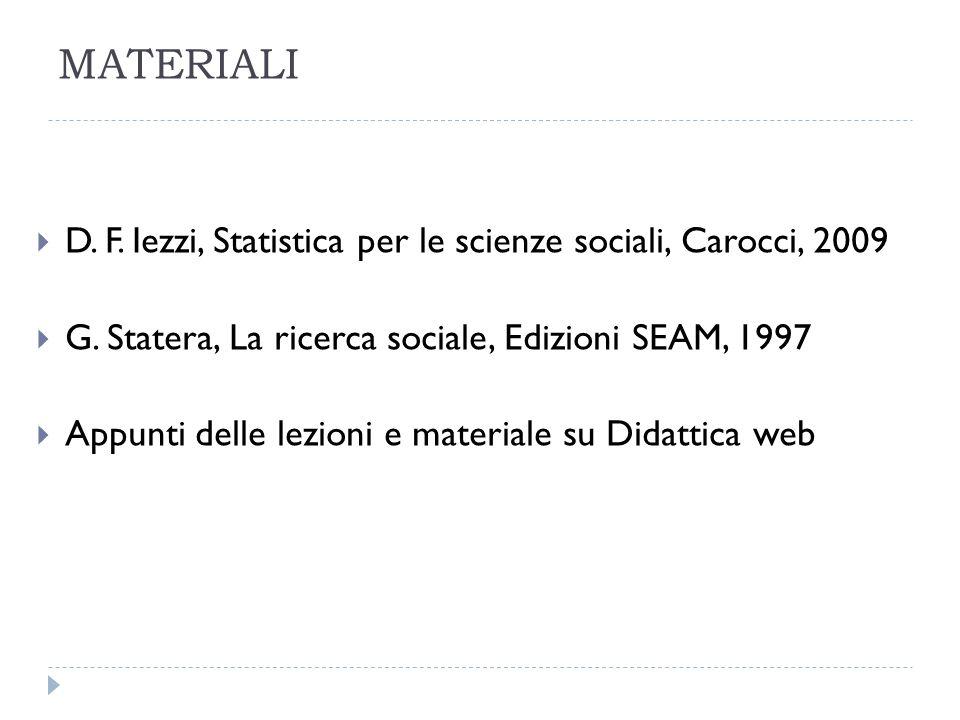 MATERIALI D. F. Iezzi, Statistica per le scienze sociali, Carocci, 2009. G. Statera, La ricerca sociale, Edizioni SEAM, 1997.