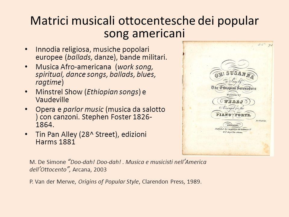 Matrici musicali ottocentesche dei popular song americani
