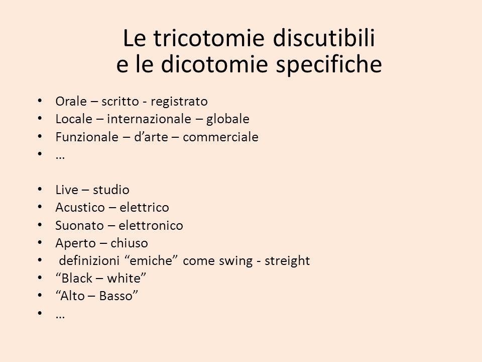 Le tricotomie discutibili e le dicotomie specifiche