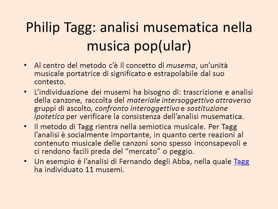 Philip Tagg: analisi musematica nella musica pop(ular)