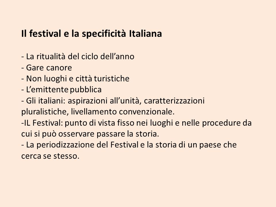 Il festival e la specificità Italiana