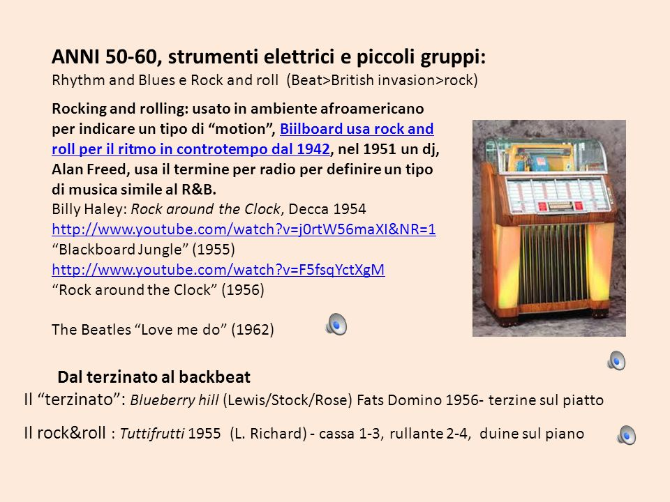 ANNI 50-60, strumenti elettrici e piccoli gruppi: