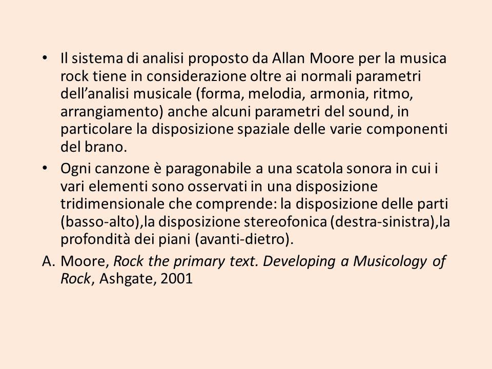 Il sistema di analisi proposto da Allan Moore per la musica rock tiene in considerazione oltre ai normali parametri dell'analisi musicale (forma, melodia, armonia, ritmo, arrangiamento) anche alcuni parametri del sound, in particolare la disposizione spaziale delle varie componenti del brano.