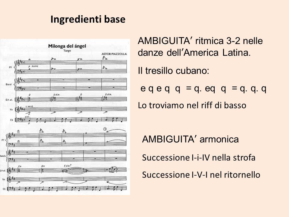 Ingredienti base AMBIGUITA' ritmica 3-2 nelle danze dell'America Latina. Il tresillo cubano: e q e q q = q. eq q = q. q. q.