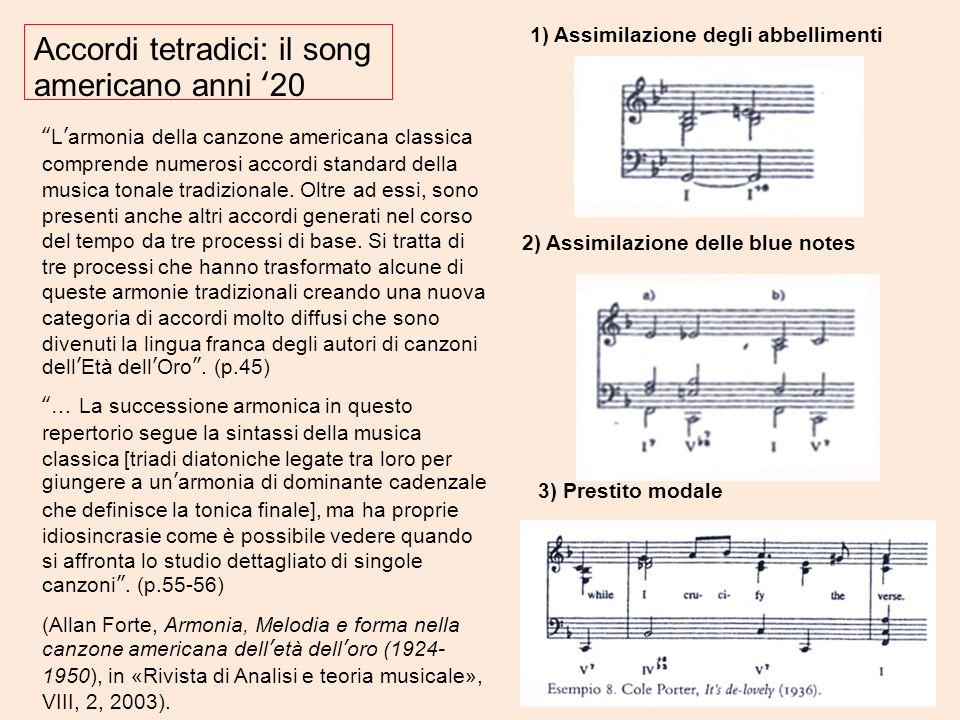 Accordi tetradici: il song americano anni '20