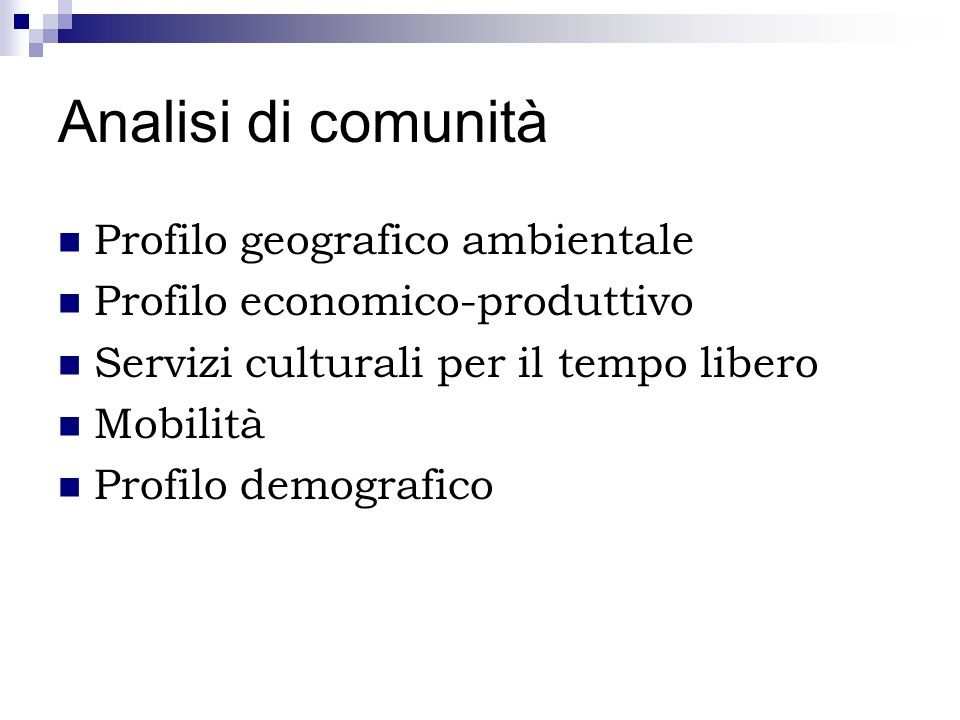 Analisi di comunità Profilo geografico ambientale