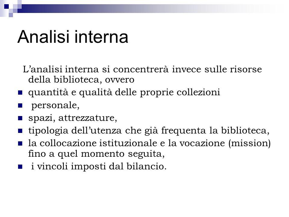 Analisi internaL'analisi interna si concentrerà invece sulle risorse della biblioteca, ovvero. quantità e qualità delle proprie collezioni.