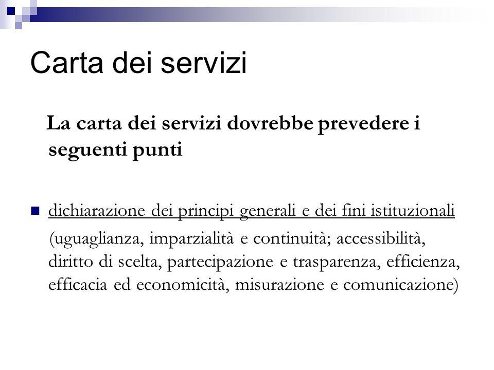 Carta dei servizi La carta dei servizi dovrebbe prevedere i seguenti punti. dichiarazione dei principi generali e dei fini istituzionali.