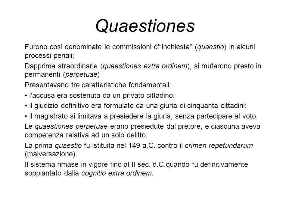 Quaestiones Furono così denominate le commissioni d' inchiesta (quaestio) in alcuni processi penali;