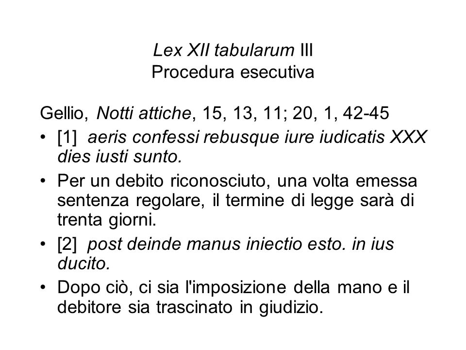 Lex XII tabularum III Procedura esecutiva