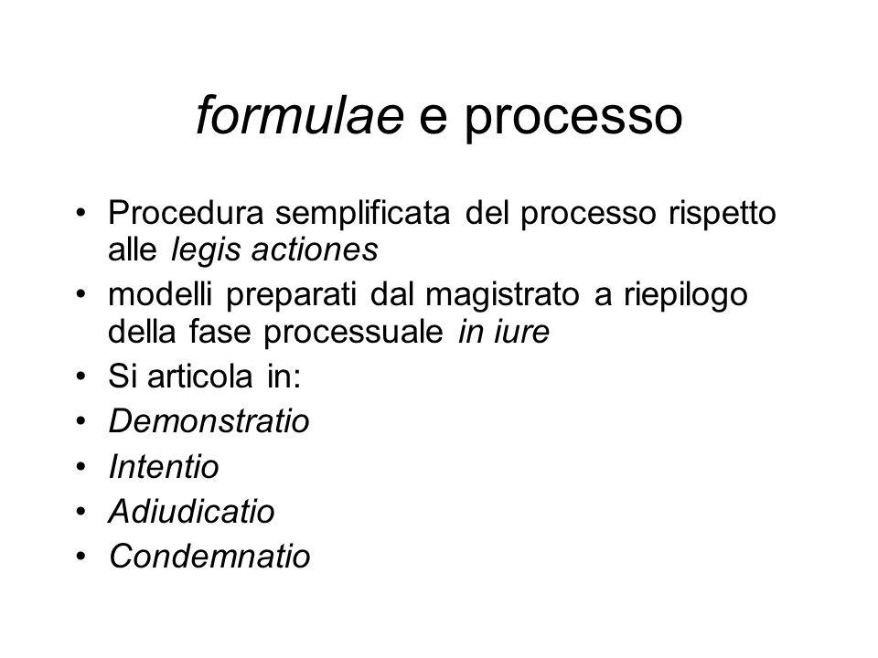 formulae e processo Procedura semplificata del processo rispetto alle legis actiones.