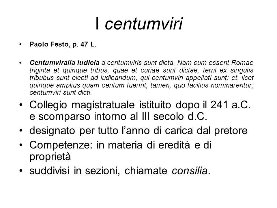 I centumviri Paolo Festo, p. 47 L.