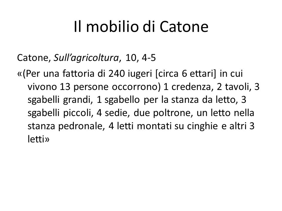 Il mobilio di Catone