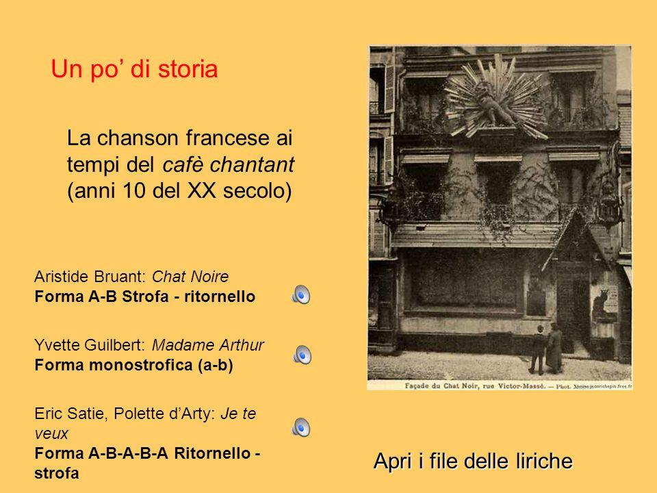 Un po' di storia La chanson francese ai tempi del cafè chantant