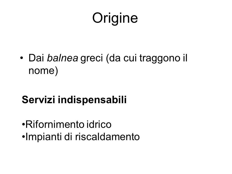 Origine Dai balnea greci (da cui traggono il nome)