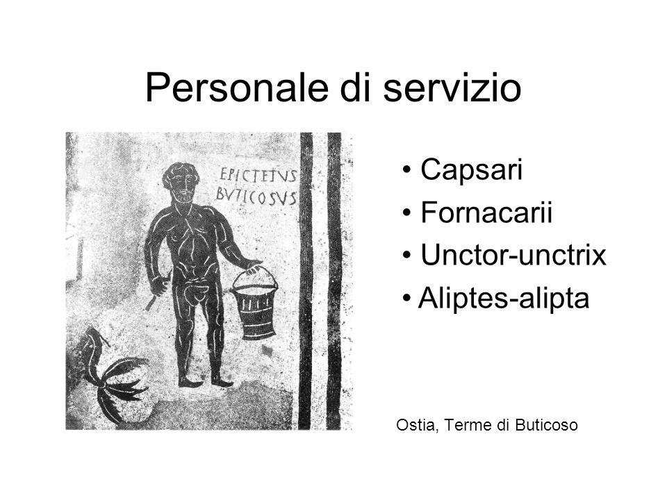 Personale di servizio Capsari Fornacarii Unctor-unctrix Aliptes-alipta