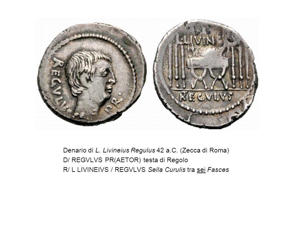 Denario di L. Livineius Regulus 42 a.C. (Zecca di Roma)