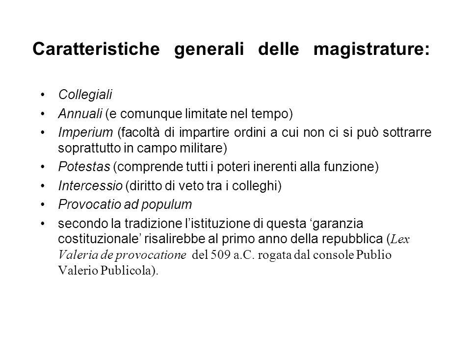Caratteristiche generali delle magistrature:
