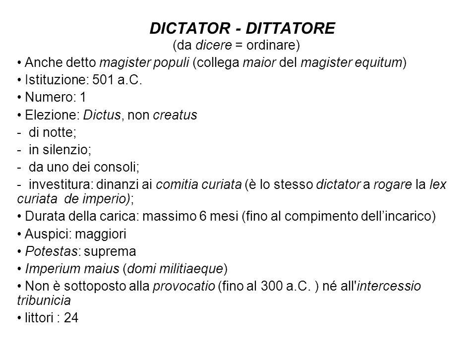 DICTATOR - DITTATORE (da dicere = ordinare)