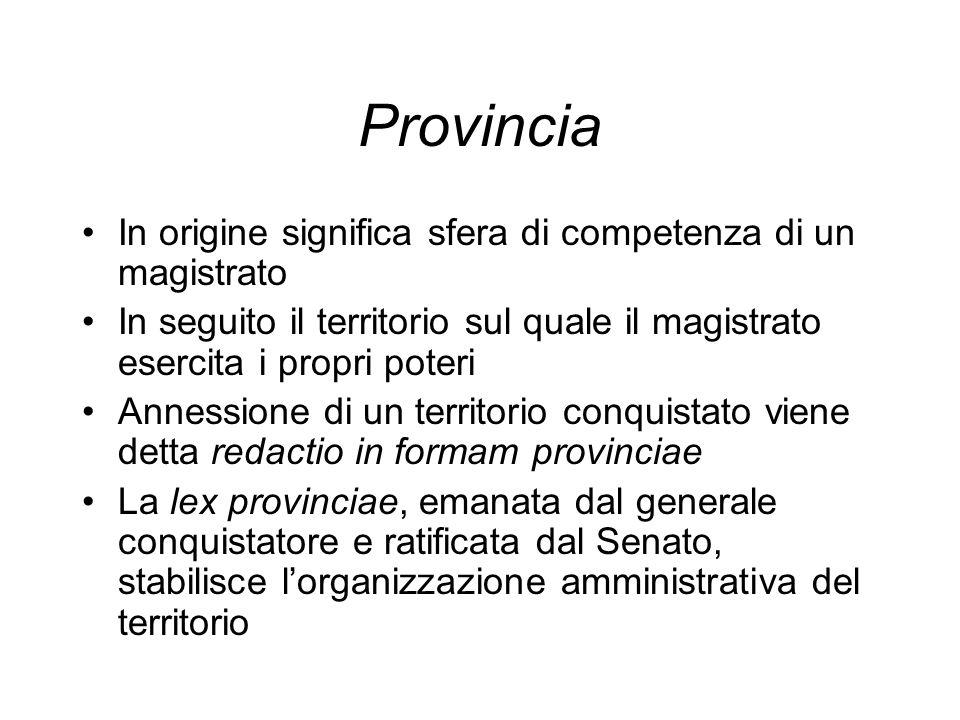 Provincia In origine significa sfera di competenza di un magistrato