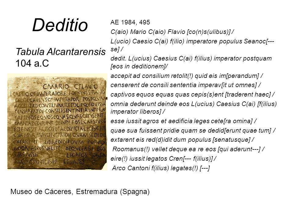 Deditio Tabula Alcantarensis 104 a.C