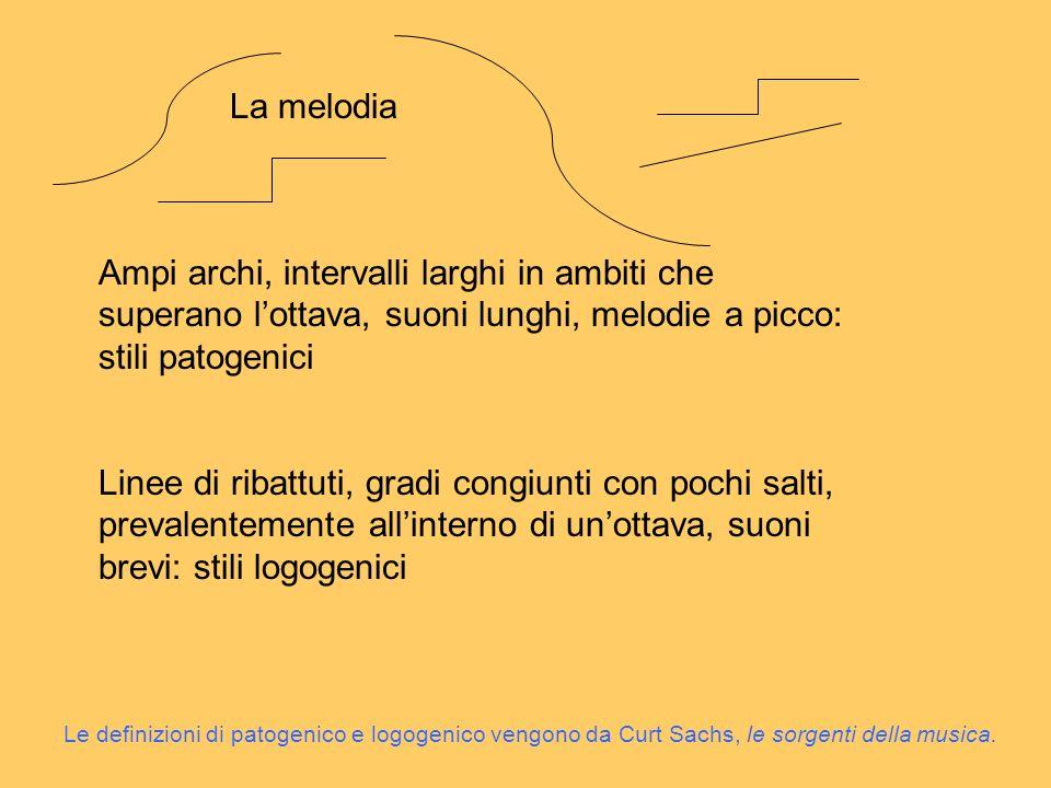 La melodia Ampi archi, intervalli larghi in ambiti che superano l'ottava, suoni lunghi, melodie a picco: stili patogenici.