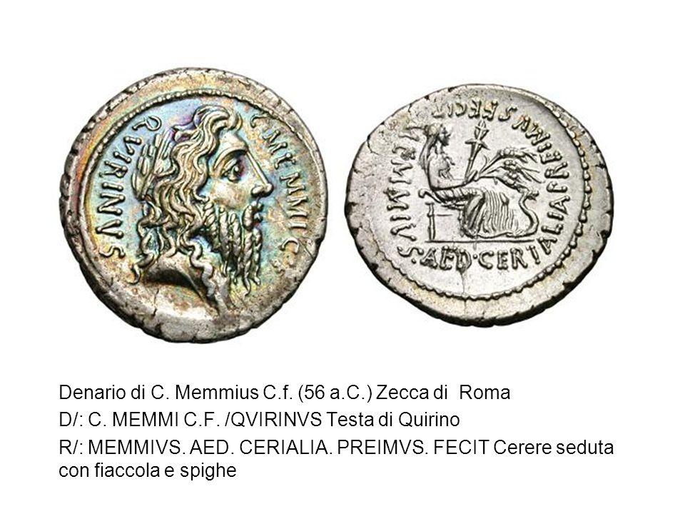 Denario di C. Memmius C.f. (56 a.C.) Zecca di Roma