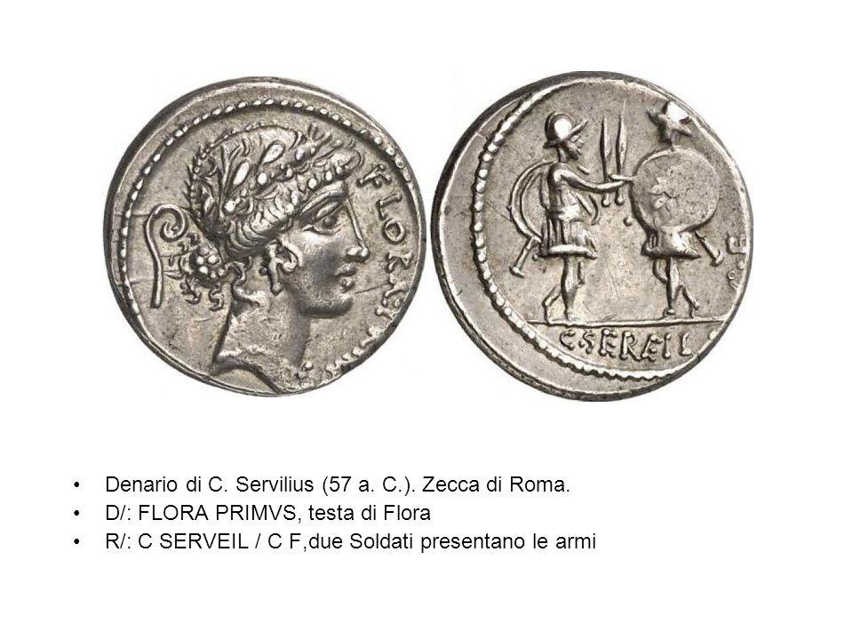 Denario di C. Servilius (57 a. C.). Zecca di Roma.