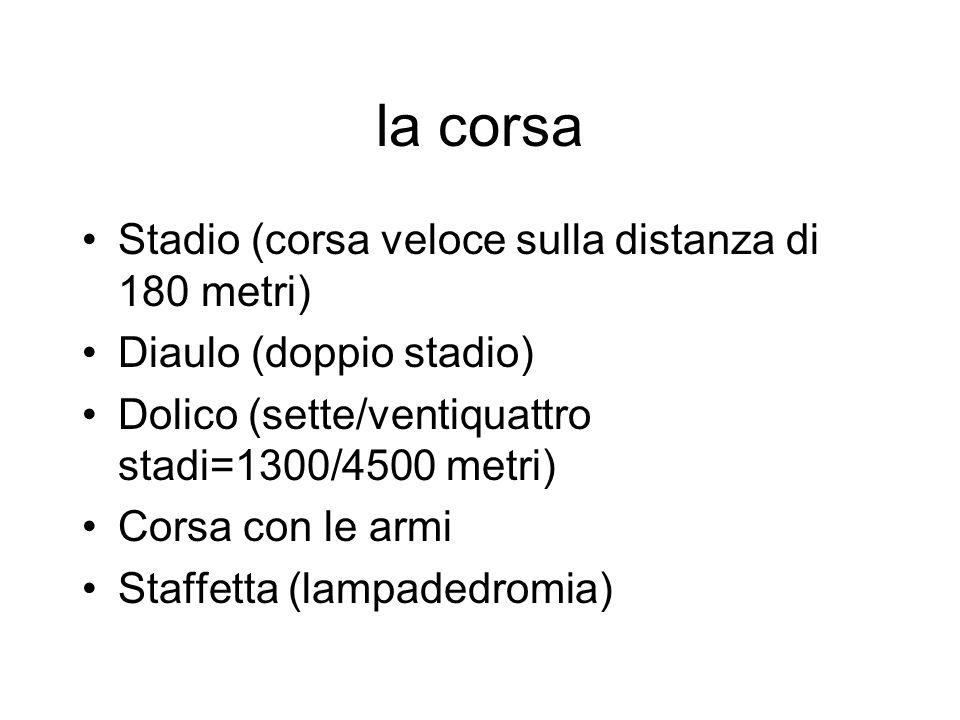 la corsa Stadio (corsa veloce sulla distanza di 180 metri)