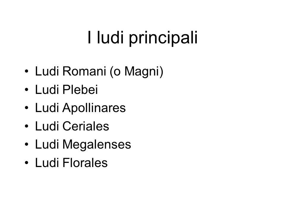 I ludi principali Ludi Romani (o Magni) Ludi Plebei Ludi Apollinares