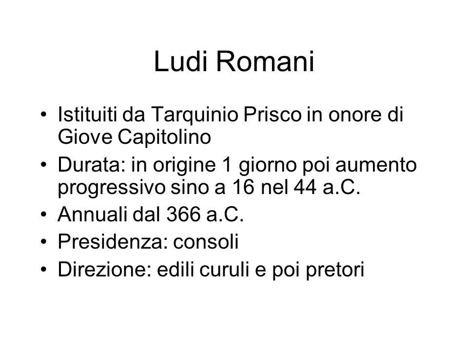 Ludi Romani Istituiti da Tarquinio Prisco in onore di Giove Capitolino