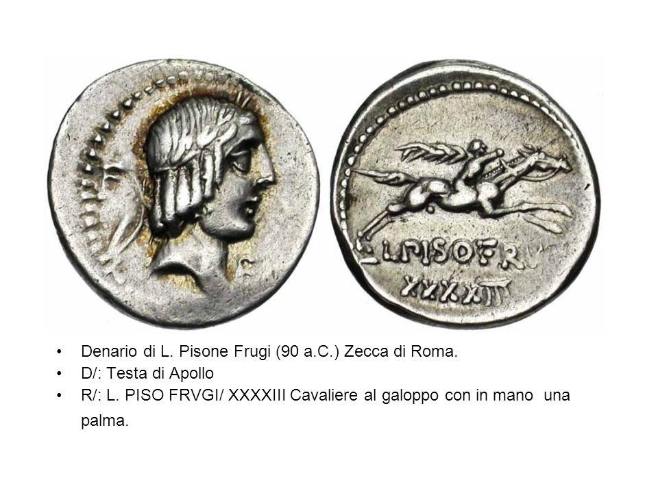 Denario di L. Pisone Frugi (90 a.C.) Zecca di Roma.