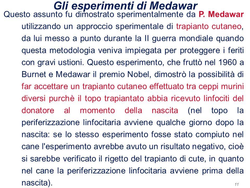 Gli esperimenti di Medawar