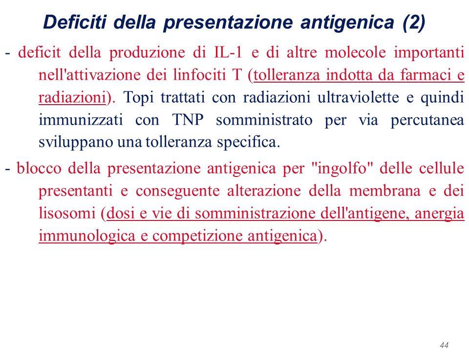 Deficiti della presentazione antigenica (2)