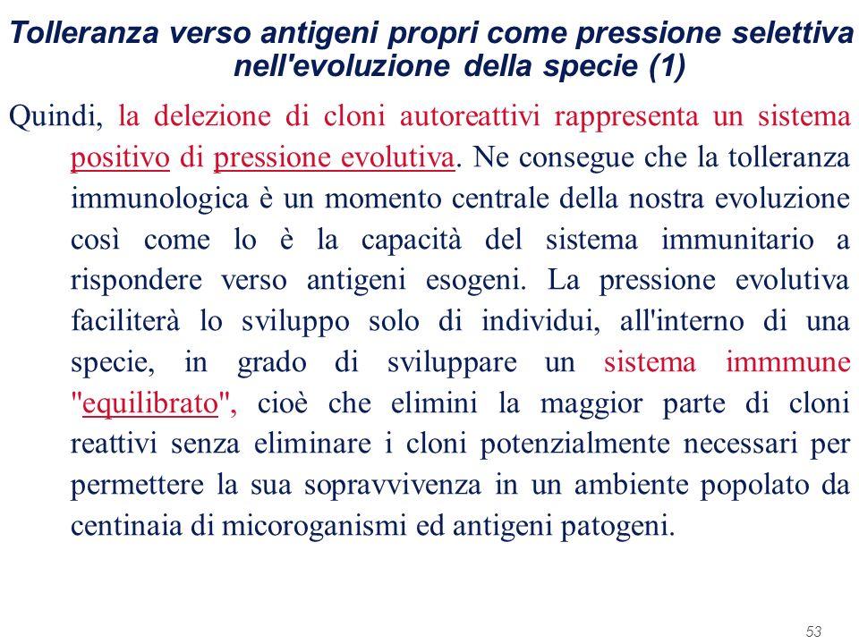 Tolleranza verso antigeni propri come pressione selettiva nell evoluzione della specie (1)