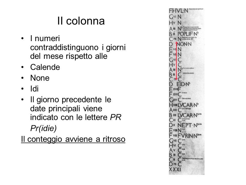 II colonna I numeri contraddistinguono i giorni del mese rispetto alle