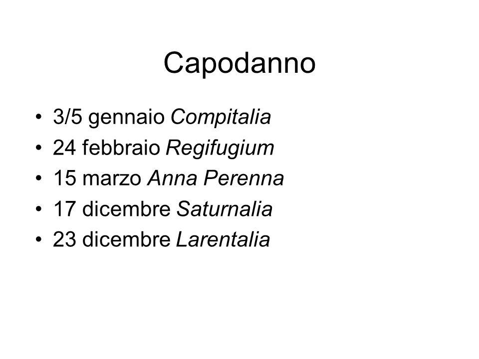 Capodanno 3/5 gennaio Compitalia 24 febbraio Regifugium