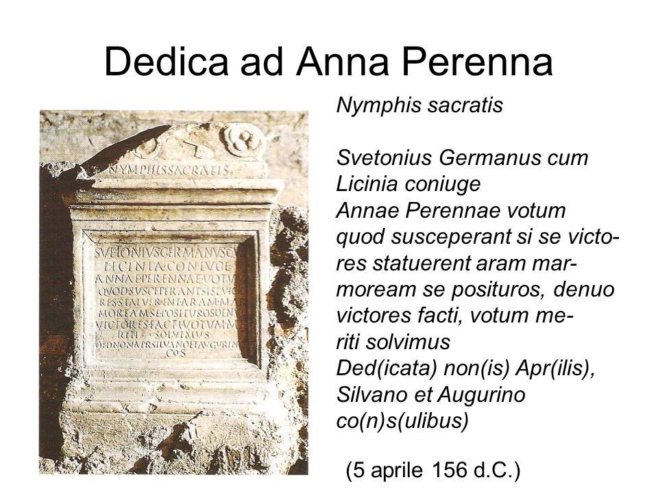 Dedica ad Anna Perenna Nymphis sacratis Svetonius Germanus cum