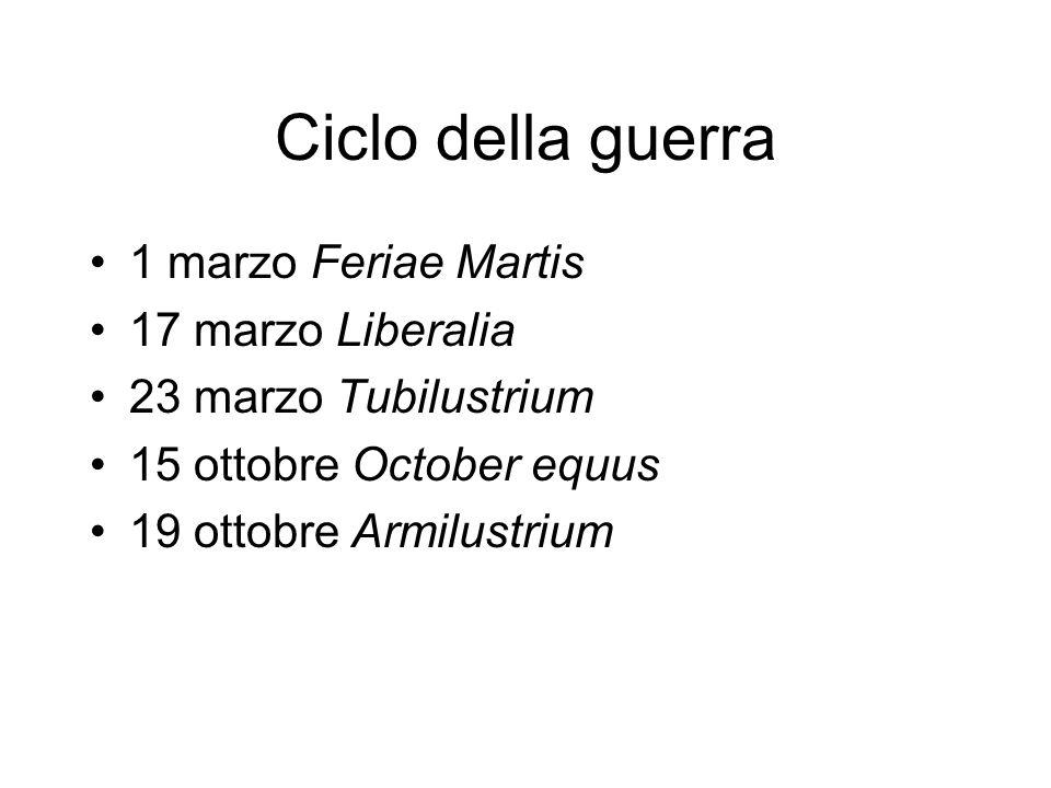 Ciclo della guerra 1 marzo Feriae Martis 17 marzo Liberalia