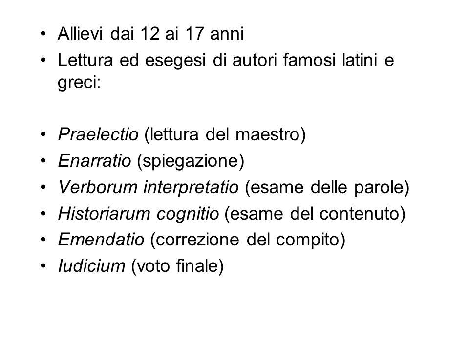 Allievi dai 12 ai 17 anni Lettura ed esegesi di autori famosi latini e greci: Praelectio (lettura del maestro)