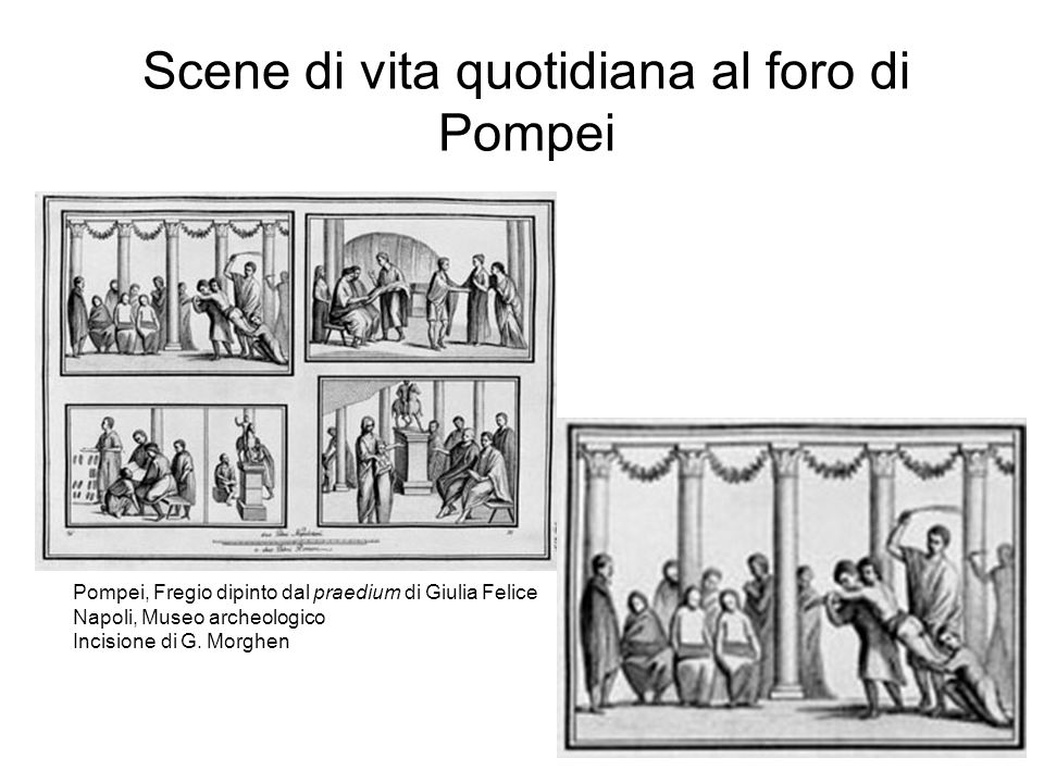 Scene di vita quotidiana al foro di Pompei